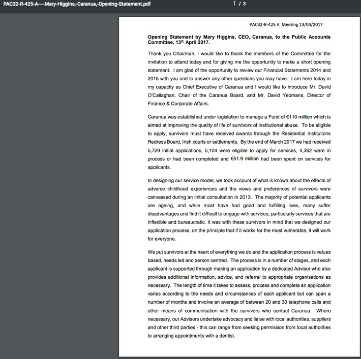 Caranua CEO prepared speech Oireachtas