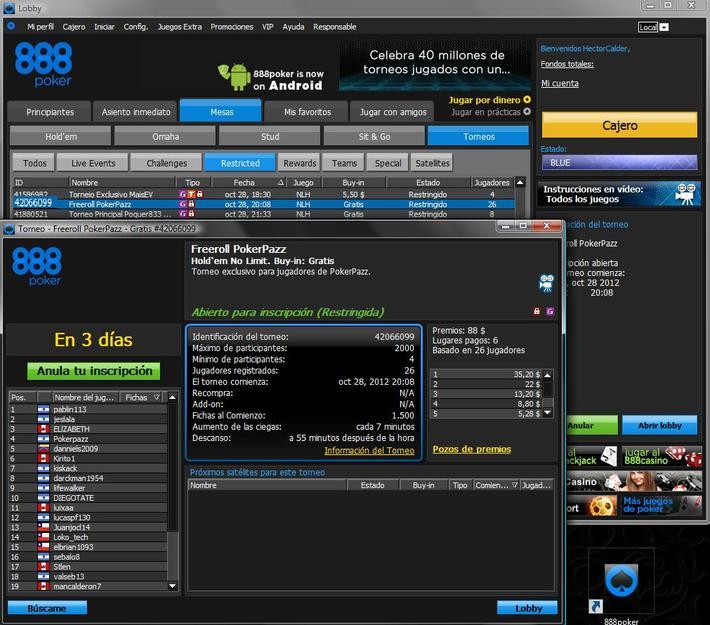 Freeroll USD88.00 en 888Poker - 28/10/2012    20:08CT