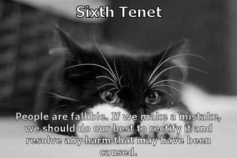 Sixth Tenet - People are fallible. If we make a mistake, we should do our best to rectify it and remediate any harm that may have been caused.