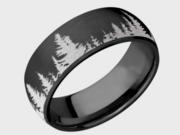 Black Zirconium With Evergreen Trees Wedding Ring