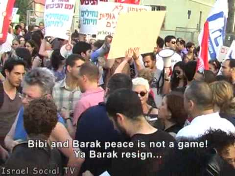 Demonstration by Israelis against the attack on the humanitarian ship