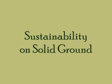 Sustainability on Solid Ground