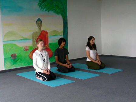 Jugendlichen-Yoga Vorführung Krähe und Kopfstand