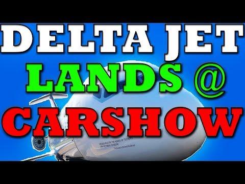 JET LANDS AT CAR SHOW