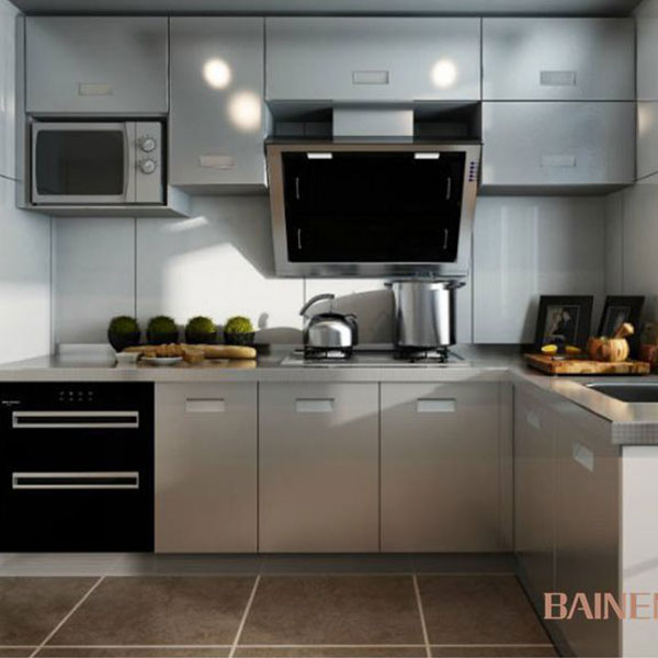 Fashionable stainless steel kitchen cabinet design