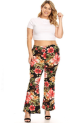 Plus Bell Bottom Pants with Floral Print at VIBE Apparel Co.