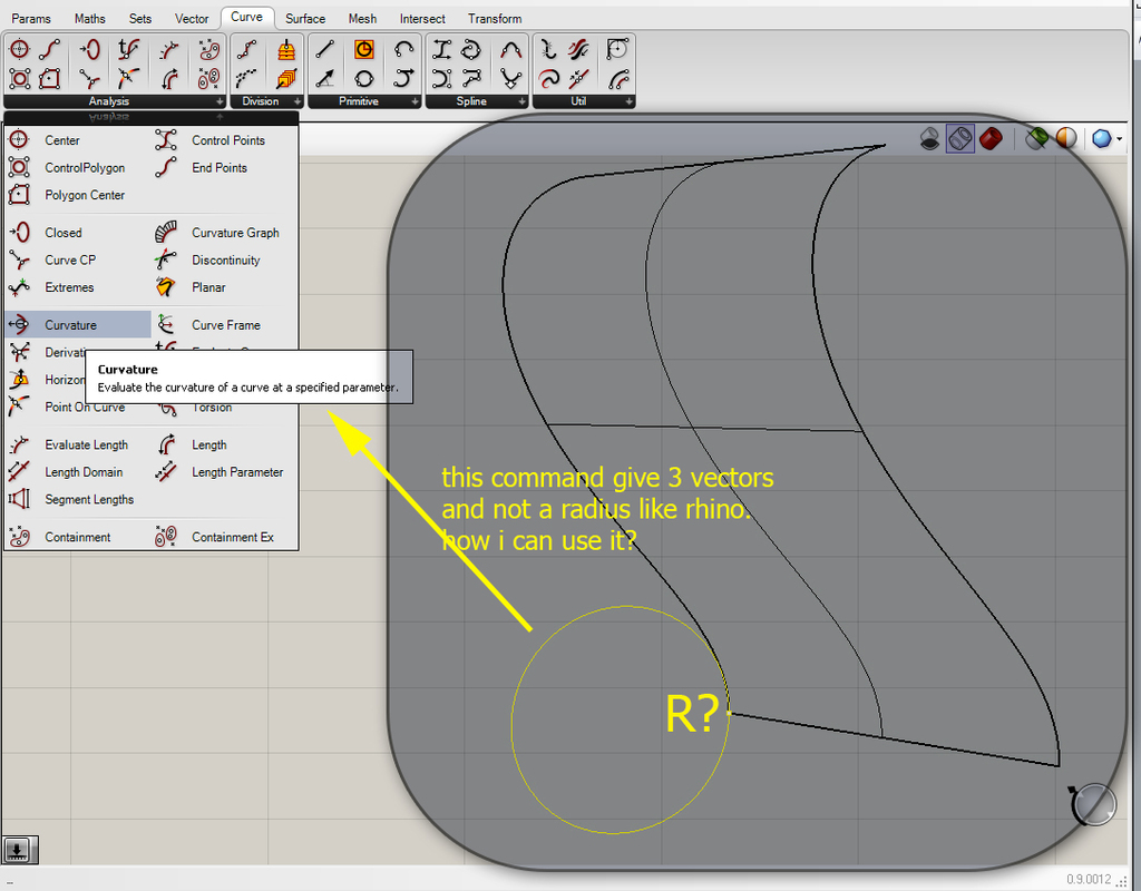 Radius of a 3DCurve: use