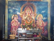 Parvati the Divine Mother with her two sons Ganesha and Murugan