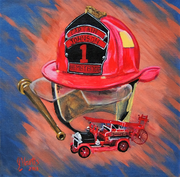 OLD AND NEW [FIREMAN'S CREED]  12X12 2013 (ACRYLIC)