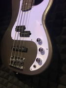 My first actual instrument build A P bass style solid body base guitar