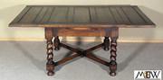 BAJ09  Large Antique English 6Ft Solid Oak Barley Twist Drawleaf Dining Pub Table