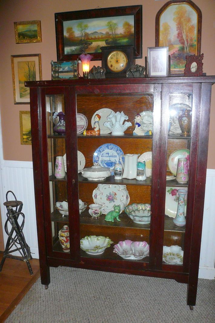 antique mission oak cabinet