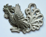 Hollywood Regency Chalkware Rooster Wall Hanging