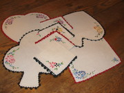 Vintage Playing Cards Embroidered Placemat Set