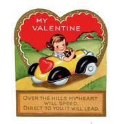Valentine- girl in pedal car