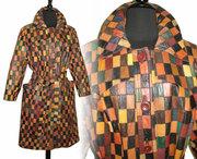 Vintage 1970s Leather Coat . Multi -Colored Leather . Patchwork Leather . Princess Coat .