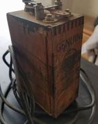 OLD WOODEN BOX WITH WIRES AND POSSIBLY CONTACTS