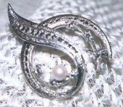 Marcasites and Pearl Swirl Pin