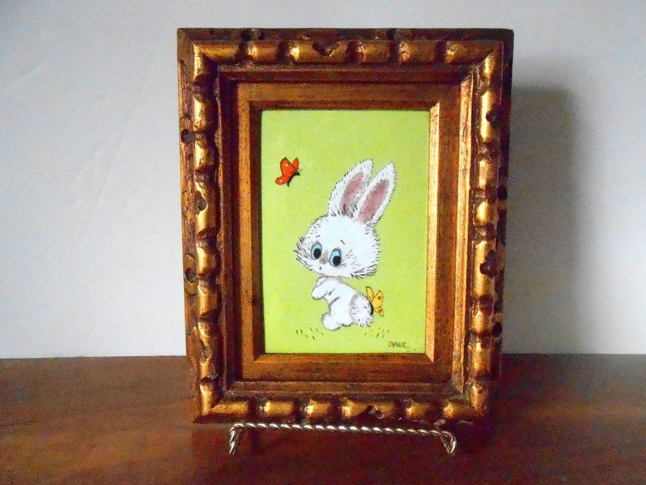 Diane Mingolla Enamel on Copper Painting of Rabbit