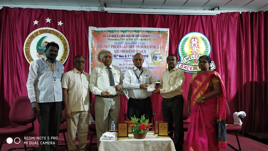 SALIS Tirunelveli Chapter Organized Three Days Program for Library and Information Science Professionals and Faculty of Education