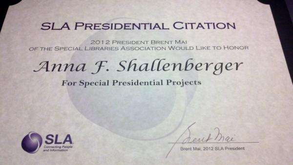 2012 SLA Presidential Citation Certificate