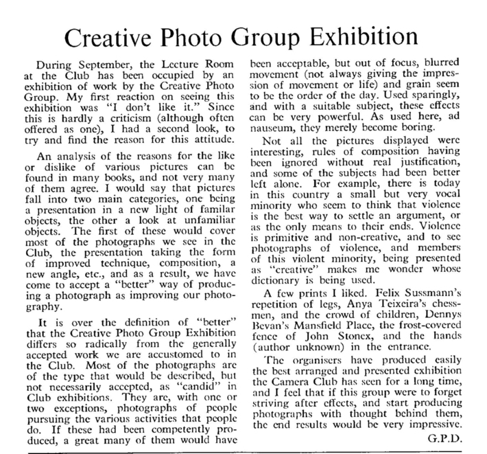 Creative Photo Group September 1964 Exhibition: Our hosts didn't like it…..