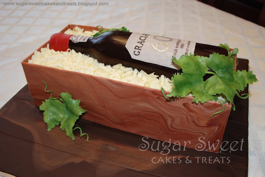 Wine Bottle in a Crate Cake