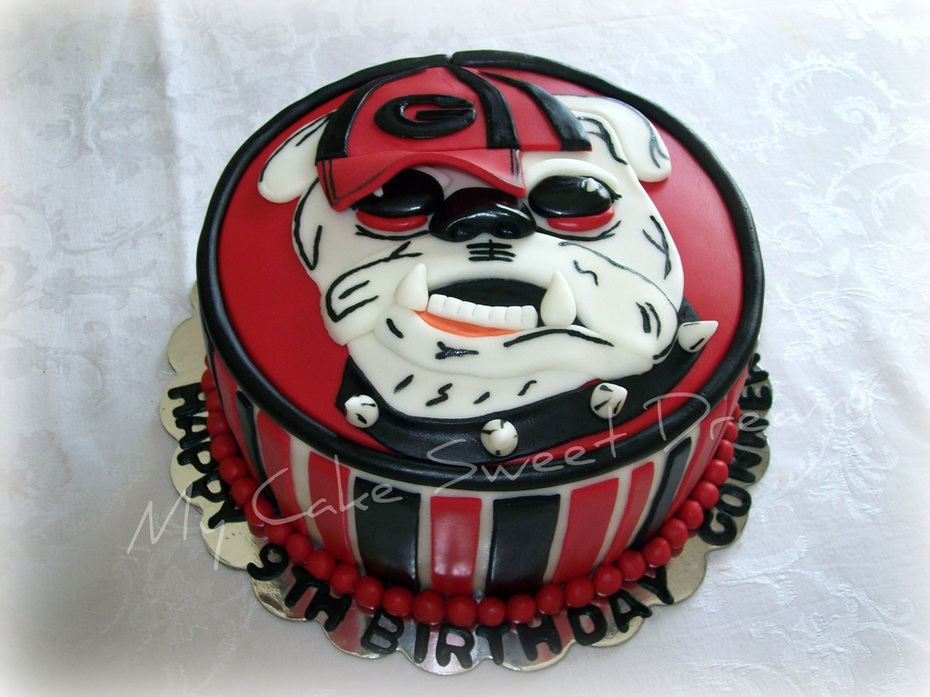 Peachy Georgia Bulldog Cake Cake Decorating Community Cakes We Bake Funny Birthday Cards Online Elaedamsfinfo