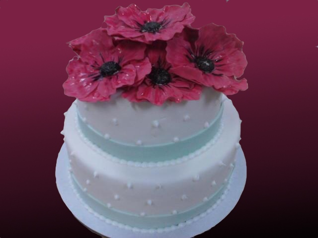 Wedding Cake with Poppies