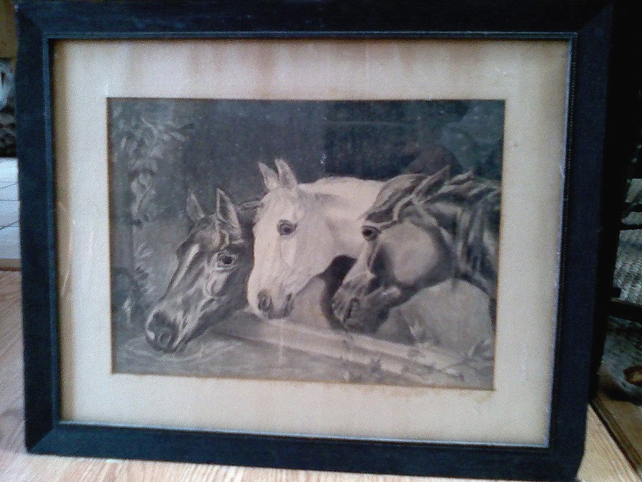 antique horse charcoal drawing