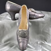 Edwardian Silver Lame Brocade shoes