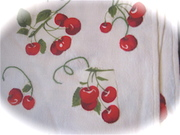 Vintage Linen Table Topper with Cherry Motif