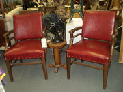 Pair Of Vintage Art Deco Style Red Arm Chairs $198.00
