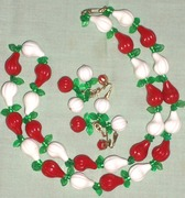 Vintage 1950's Jewelry Necklace & Earrings-Chili Peppers Fanciful & Fun