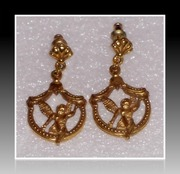 Pair of Vintage gold-tone cherub earrings from the Vatican Library
