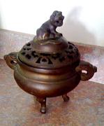 Bronze fu-dog incense burner