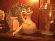 Very old Custard Glass creut w/crystal stopper