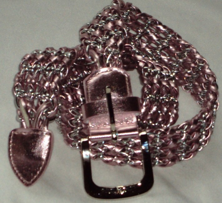Pink & Silver Faux Leather & Metal Belt