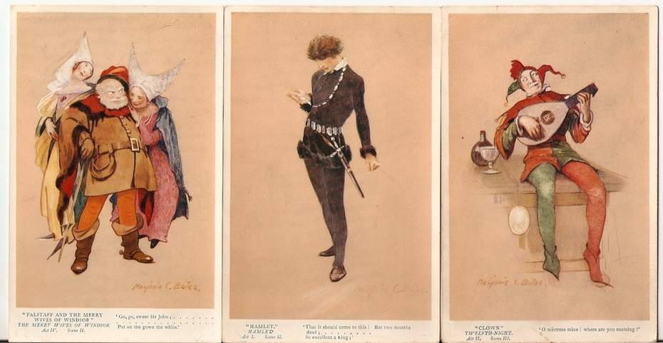 1930s postcards William Shakespeare characters