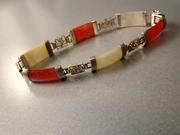 Sterling Silver Carnelian and Mother of Pearl Asian Bracelet