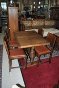 Antique Oak Pub Table and 4 Chairs With Two 12 Inch Leaves
