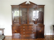 Large Trosby Flaming Mahogany Breakfront China Cabinet Bookcase