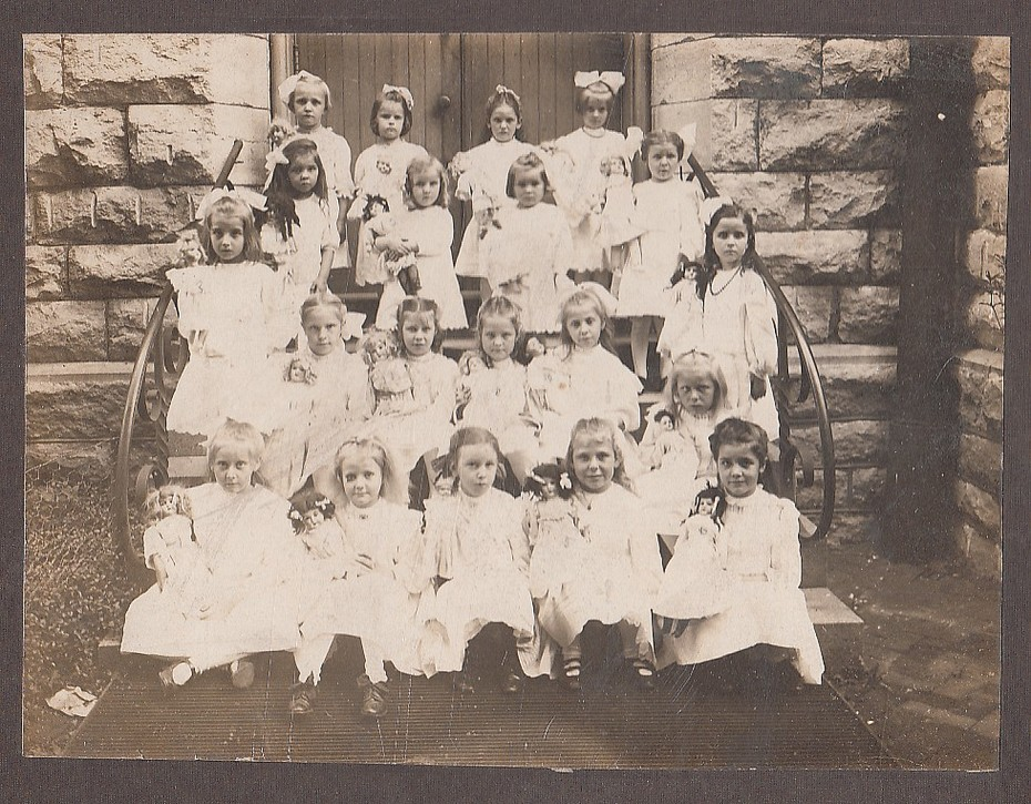 Vintage Photo of Young Girls Holding Dolls