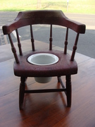 Primative Wooden Childs Potty Chair with Porcelain Ironstone Pot  - Painted Barn Red