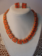 Signed Lisner Necklace and Earrings - Orange