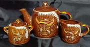 Japan Empress pottery Indian Chief tea set
