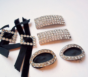 Vintage Lot of Rhinestone Shoe Buckles and Clips - 3 Pr.