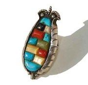 Vintage Zuni Sterling & Mosaic Gemstone Corn Ring