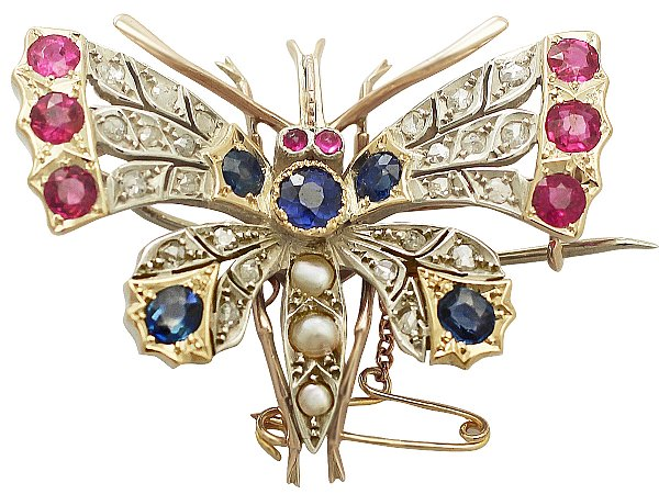 Pearl, Sapphire, Ruby and Diamond, 9 ct Yellow Gold Butterfly Brooch - Antique Circa 1900