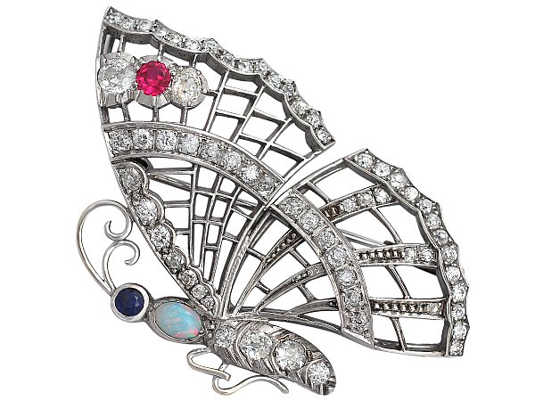 3.50 ct Diamond, Opal, Ruby and Sapphire White Gold 'Butterfly' Brooch - Vintage Circa 1940
